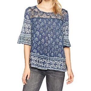 Lucky Brand Printed Ruffle Sleeve Floral Blouse